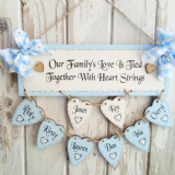 Personalised Hand Made Family Tree With EIGHT Wooden  Hearts